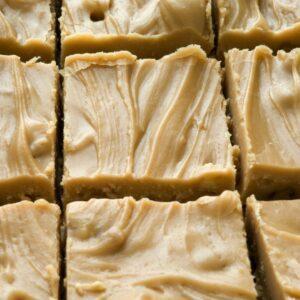 A close up photo of maple fudge.